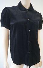 COMME DES GARCONS Black 100% Cotton Velvet Pleated Short Sleeve Shirt Top L