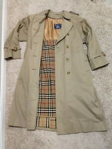 Vintage Burberry Trench Coat Women 8 Petite Double Breasted Belted Wool Liner