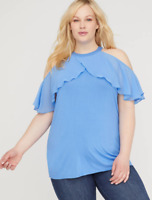 Lane Bryant Solid Ruffled Turquoise halter Top PLUS Size 14 16 18 20 22 24 26 28