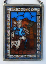 Stained Glass Art Panel Medieval Renaissance Man & Woman Lovers Glassmasters