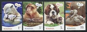 Romania Wild Animals Stamps 2019 MNH Emotions Elephants Polar Bears Dogs 4v Set