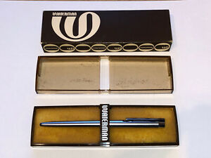 Vintage Waterman Flair Brushed Stainless Steel Ballpoint Pen Chrome Trim Case