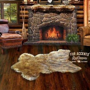 Faux Fur Sierra Bear Skin Pelt Rug, Deer Skin,Throw Carpet, Hand Made in America