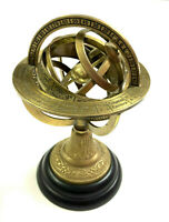 Nautical Brass Sphere Globe Antique Style Engraved Table Top Armillary Decor