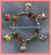 Bracelet Enamel 6 Pocketbook Fruit Designed Charms Stretchie Silvertone ~Ex-cond