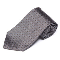 New BROOKS BROTHERS Gray Blue Square Cube Grid Men's Silk Neck Tie NWT