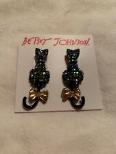 $35 Betsey Johnson Pave Cat Stud Earrings Black & Gold Tone And Boo To You Z63