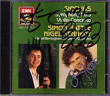 Nigel KENNEDY & Simon RATTLE Signiert SIBELIUS Violin Concerto Sinfonie Nr.5 CD