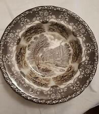 Grindley English Country Inns 22 cms Rimmed Bowl, brown & white