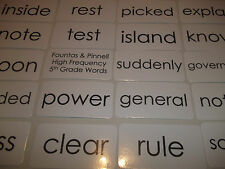 102 laminated Fountas and Pinnell based Fifth Grade high frequency flashcards si