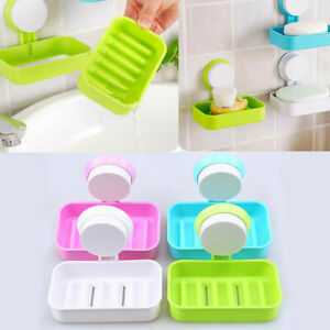 NEW Home Soap Dish Holder Bathroom Wall Hanging Holder with Strong Suction Cup