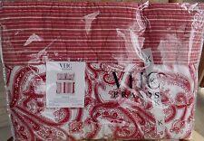 VHC BRAND Natalia Red Paisley Design 100% Cotton KING QUILT & 2 SHAMS