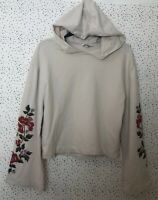 Miss Selfridge Light Beige Floral Embroidered Flared Sleeve Cropped Hoodie UK 8