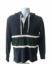ABERCROMBIE & FITCH Mens X Small Rugby Polo With Drawstring Hoodie Blue Green