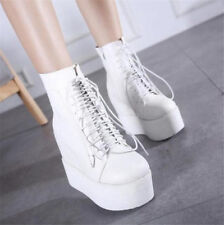 Women's Wedge High Heels Platform Creepers Thick Sole Ankle Boots Lace Up Shoes