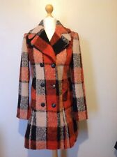 Kaleidoscope Double Beasted Wool Blend Coat Size 12 Red Check