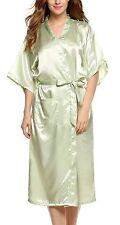 Avidlove Womens Robes Long Classic Satin Lounge Wedding Kimono Nightwear, Green