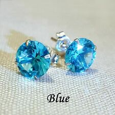 WOMENS GENUINE 925 SOLID STERLING SILVER CUBIC ZIRCONIA ROUND STUD EARRINGS BLUE