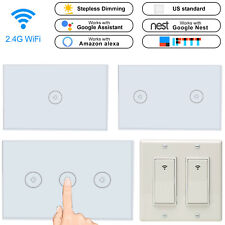 Smart WiFi Light Wall Switch Touch Panel US 1/2/3Gang APP For Alexa Google IFTTT