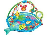 Baby Playmat Blue Aquarium Activity Play Mat With Fun Sensory Toys & Mirror