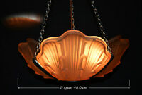 early 1920s art deco patented Odeon three clam shell wing ceiling pendant light