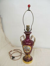 Vtg Hand Painted Burgundy Gold Gilt Colonial Man Woman Victorian Lamp; No Shade