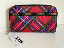 NEW! LESPORTSAC LILY COZY PLAID RED ZIP AROUND ZIPPY CLUTCH WALLET $48 SALE