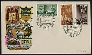 Ifni 80, B27-8 on FDC - Crest, Animals, Woman with Drum