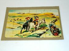 Vintage 1950s Cowboy Boy Girl Wild West Jigsaw Puzzle Toy COMPLETE