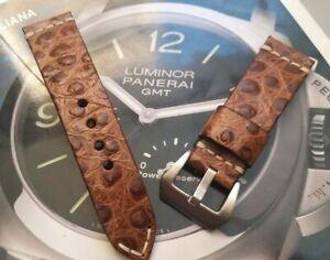 24mm Straußen leder Strap Kompatibel Panerai uhren armband schließe pvd schwarz