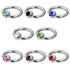 Stahl Piercing Kristall Klemm Kugel Ring 1,6mm Brust Intim Ohr Kugel 5mm