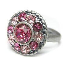 Neu RING mit SWAROVSKI STEINE in rose/light rose/rosa/hellrosa GRÖßENVERSTELLBAR
