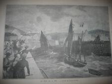 Gravure 1888 - La rentrée des barques de Pêche