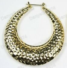 "2.5"" BIG YELLOW GOLD PLATED OVAL HOOPS bamboo HAMMERED hoop EARRINGS retro 80s"