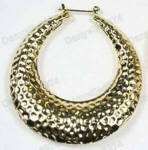 """2.5"""" BIG YELLOW GOLD PLATED OVAL HOOPS bamboo HAMMERED hoop EARRINGS retro 80s"""