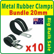 10 x Metal Rubber Clamps Bundle 20mm Rubber Lined P Clips Mild Steel Zinc Plated
