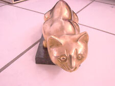 "Brass cat on green marble slab figurine 10 1/4"" so cute! heavy animal kitty"