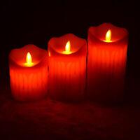 3Pcs/set Flameless LED Candles Pillar  Electric Wax Made Christmas Party Decors