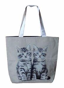 Hand Tasche handgewebt Stofftasche 2 Katzen Kätzchen Katzenmotiv Gobelin 11199