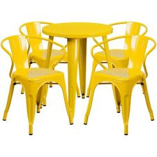 24in Round Yellow Metal Indoor-Outdoor Table Set with 4 Arm Chairs NEW