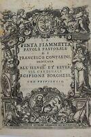 Seicentina Pergamena FINTA FIAMMETTA 1610 Venezia Contarini Dei Teatro Commedia