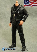 1/6 Black Leather Jacket Suit Set For Arnold Terminator T-800 TV01C Male Figure