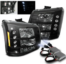 2003-2006 CHEVY SILVERADO AVALANCHE LED HEAD LIGHTS BLACK SET 2IN1+50W 8000K HID