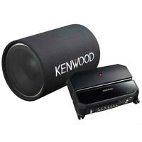 "Kenwood 12"" 1200W Cylindrical Subwoofer & 2 Channel 85W Car Amplifier 