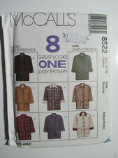New McCall's 8522 8 Looks 1 Pattern Lined Jacket Size Medium 12 14