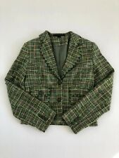 Express Design Studio Women's Green Long-sleeved Cropped Blazer Size 6