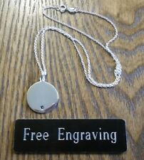 FREE ENGRAVING (PERSONALIZED) Sterling Silver Birthstone Pendant Necklace
