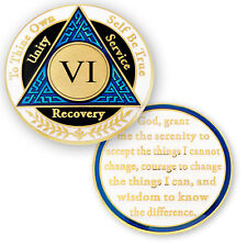 AA coin 6 year, Blue Black White, anniversary recovery alcoholics anonymous