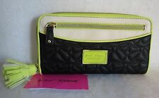 Betsey Johnson Wallet~Women's Black & Lime Tassel Zip Around Quilted Clutch~NWT