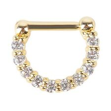 1pcs 16g(1.2mm) Surgical Steel CZ Septum Clicker Nose Ring Hoop Piercing Jewelry Gold